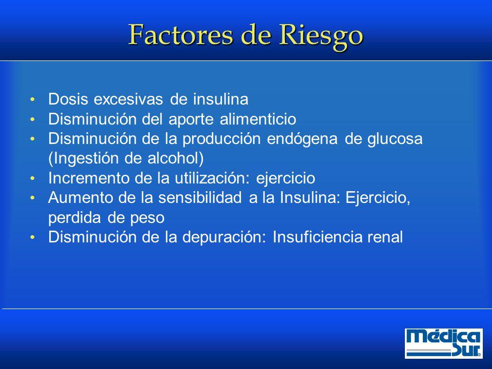 Factores de Riesgo Dosis excesivas de insulina