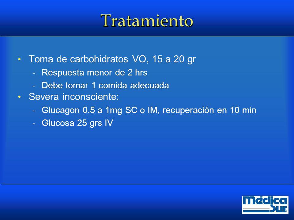 Tratamiento Toma de carbohidratos VO, 15 a 20 gr Severa inconsciente: