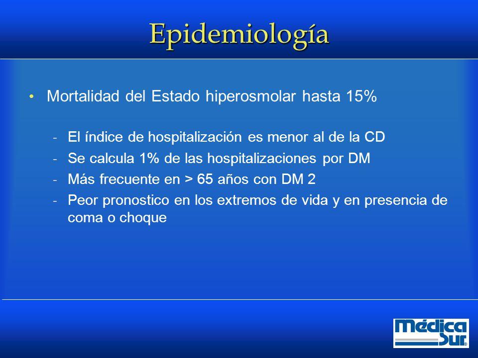 Epidemiología Mortalidad del Estado hiperosmolar hasta 15%