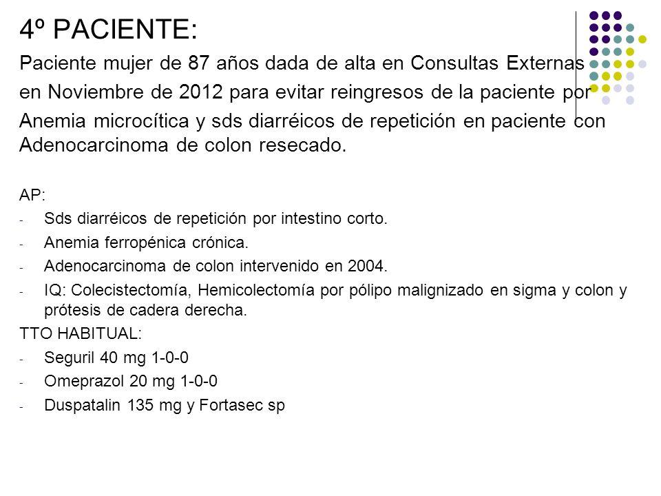 4º PACIENTE: Paciente mujer de 87 años dada de alta en Consultas Externas. en Noviembre de 2012 para evitar reingresos de la paciente por.