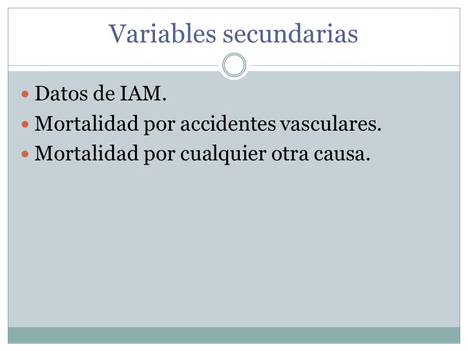 Variables secundarias