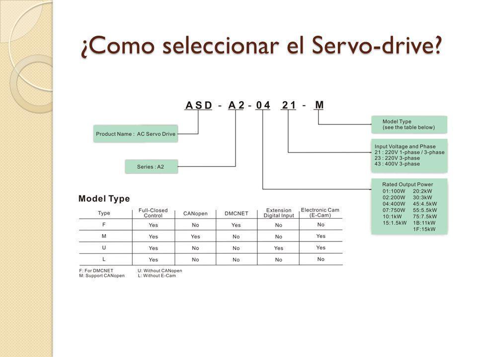 ¿Como seleccionar el Servo-drive