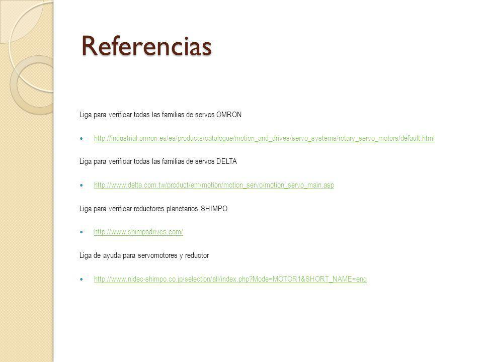 Referencias Liga para verificar todas las familias de servos OMRON