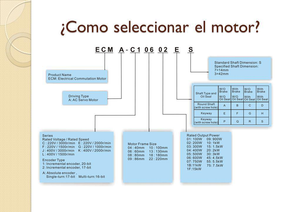 ¿Como seleccionar el motor