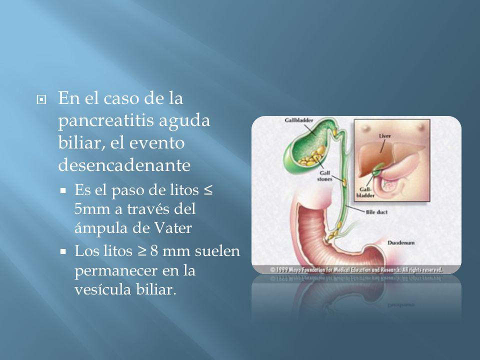 En el caso de la pancreatitis aguda biliar, el evento desencadenante