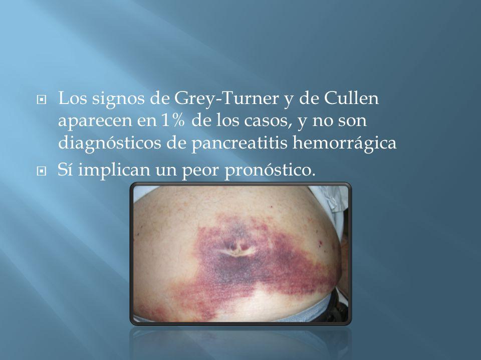 Los signos de Grey-Turner y de Cullen aparecen en 1% de los casos, y no son diagnósticos de pancreatitis hemorrágica