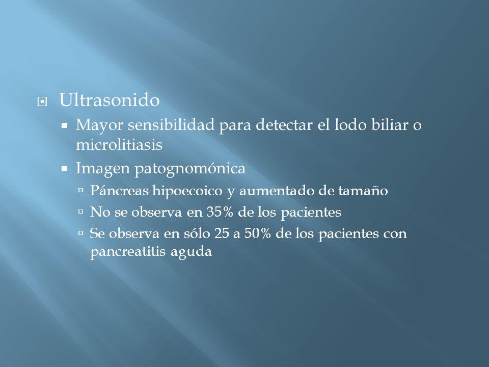 Ultrasonido Mayor sensibilidad para detectar el lodo biliar o microlitiasis. Imagen patognomónica.