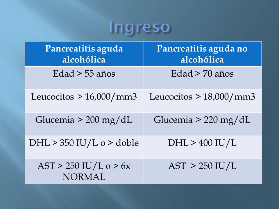 Pancreatitis aguda alcohólica Pancreatitis aguda no alcohólica