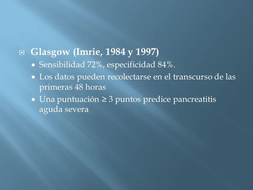 Glasgow (Imrie, 1984 y 1997) Sensibilidad 72%, especificidad 84%.