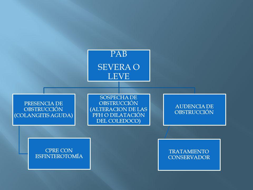 PAB SEVERA O LEVE PRESENCIA DE OBSTRUCCIÓN (COLANGITIS AGUDA)