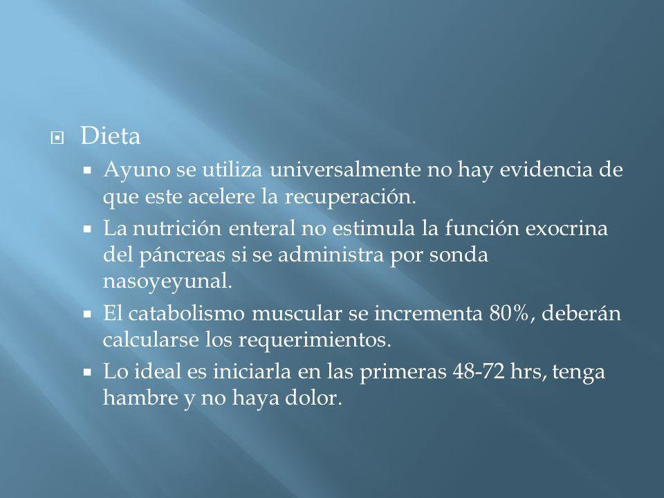 Dieta Ayuno se utiliza universalmente no hay evidencia de que este acelere la recuperación.