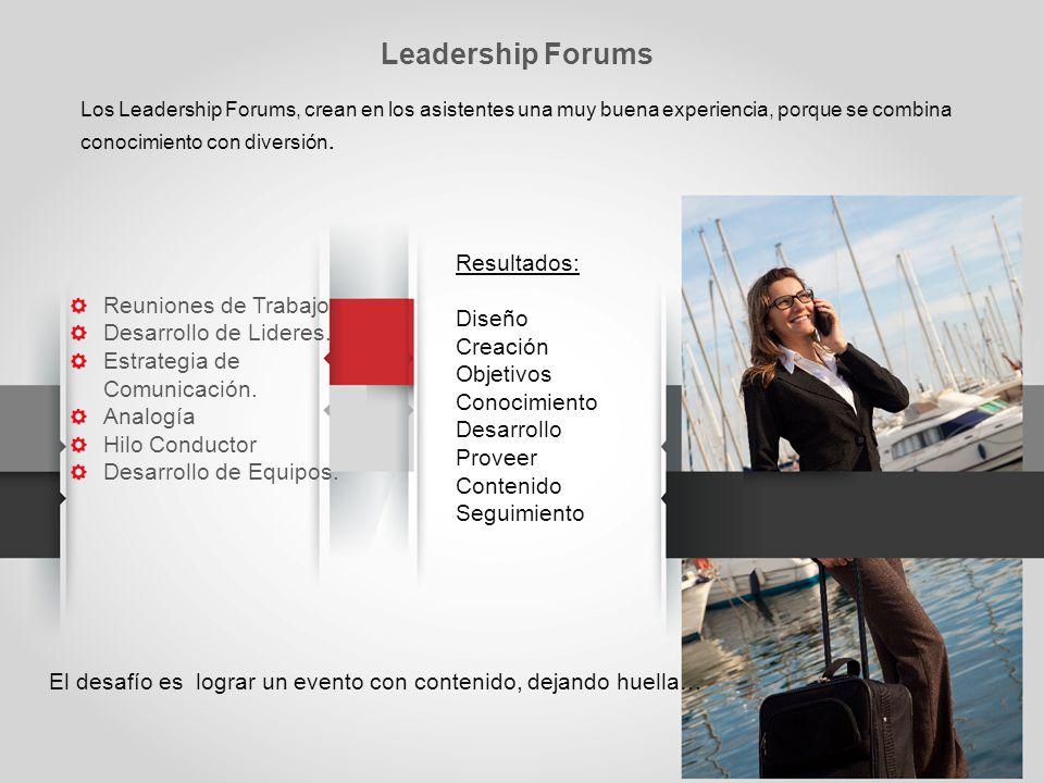 Leadership Forums Resultados: Diseño Creación Objetivos Conocimiento