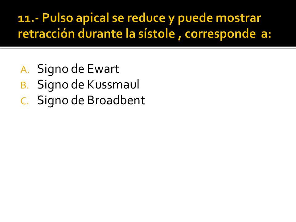 11.- Pulso apical se reduce y puede mostrar retracción durante la sístole , corresponde a: