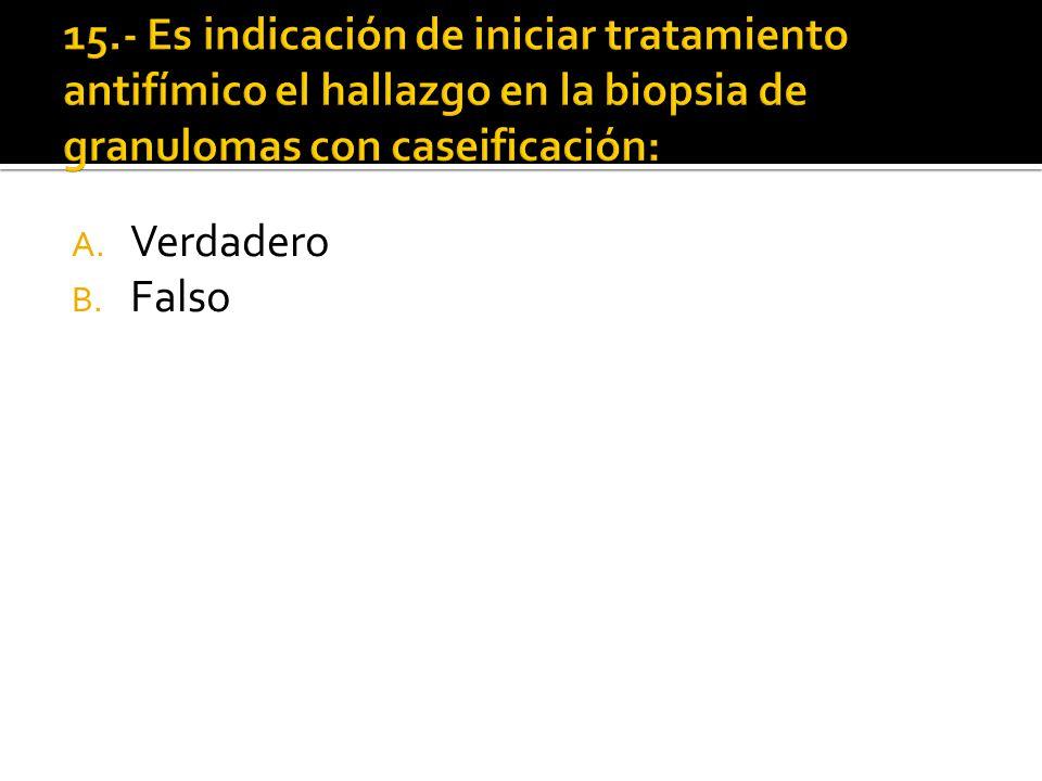 15.- Es indicación de iniciar tratamiento antifímico el hallazgo en la biopsia de granulomas con caseificación: