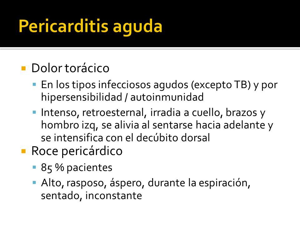Pericarditis aguda Dolor torácico Roce pericárdico