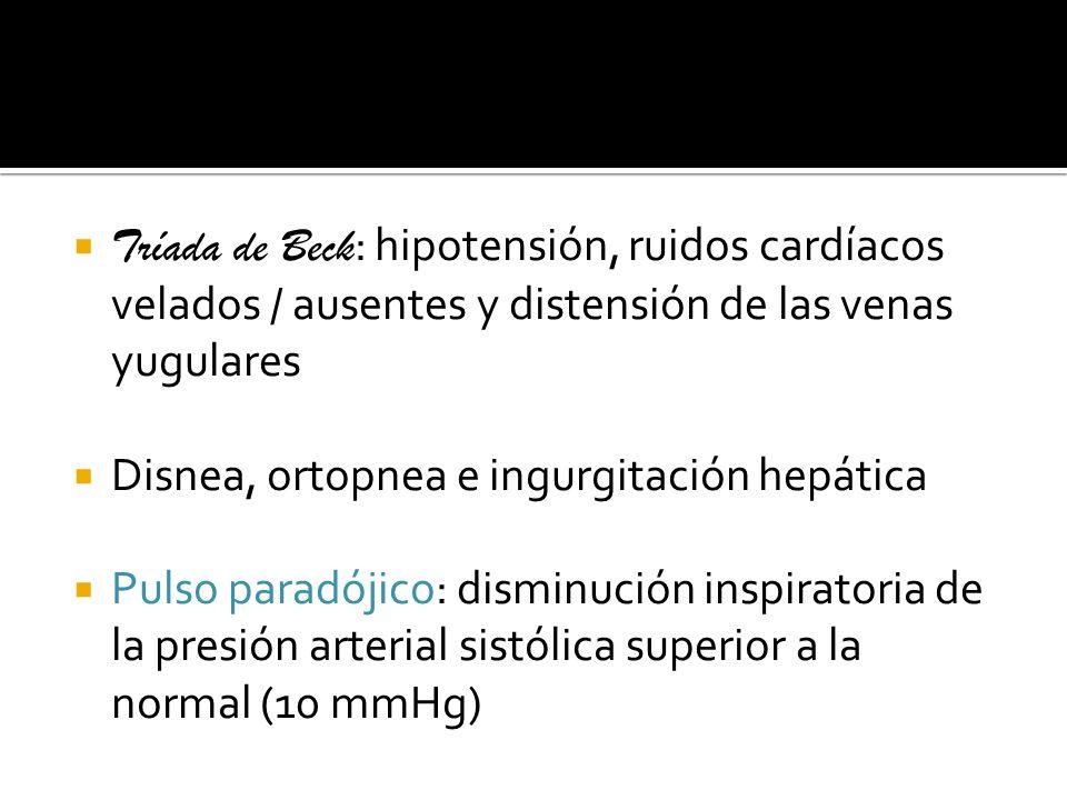 Disnea, ortopnea e ingurgitación hepática