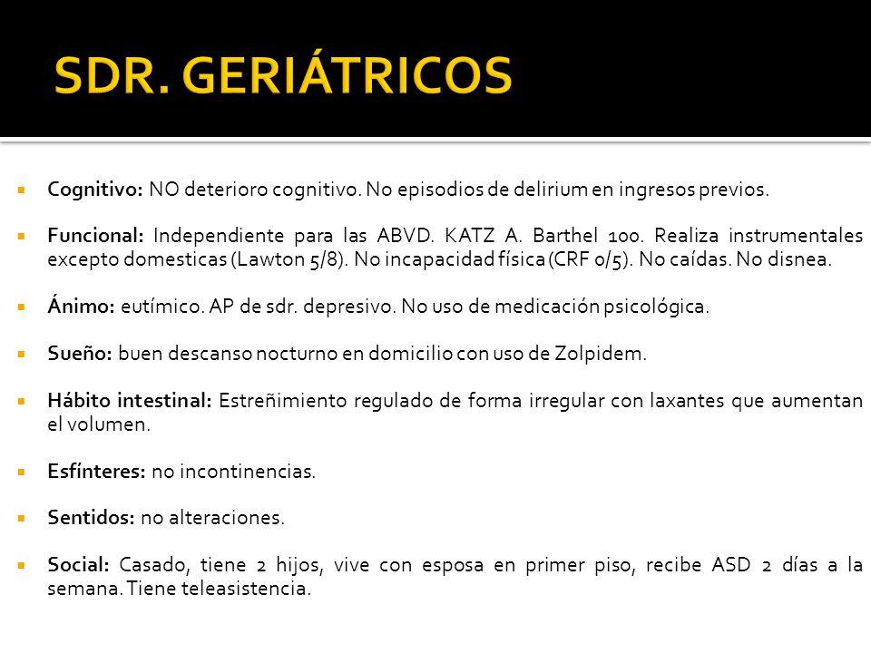 SDR. GERIÁTRICOS Cognitivo: NO deterioro cognitivo. No episodios de delirium en ingresos previos.