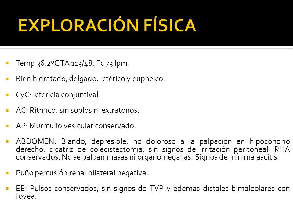 EXPLORACIÓN FÍSICA Temp 36,2ºC TA 113/48, Fc 73 lpm.