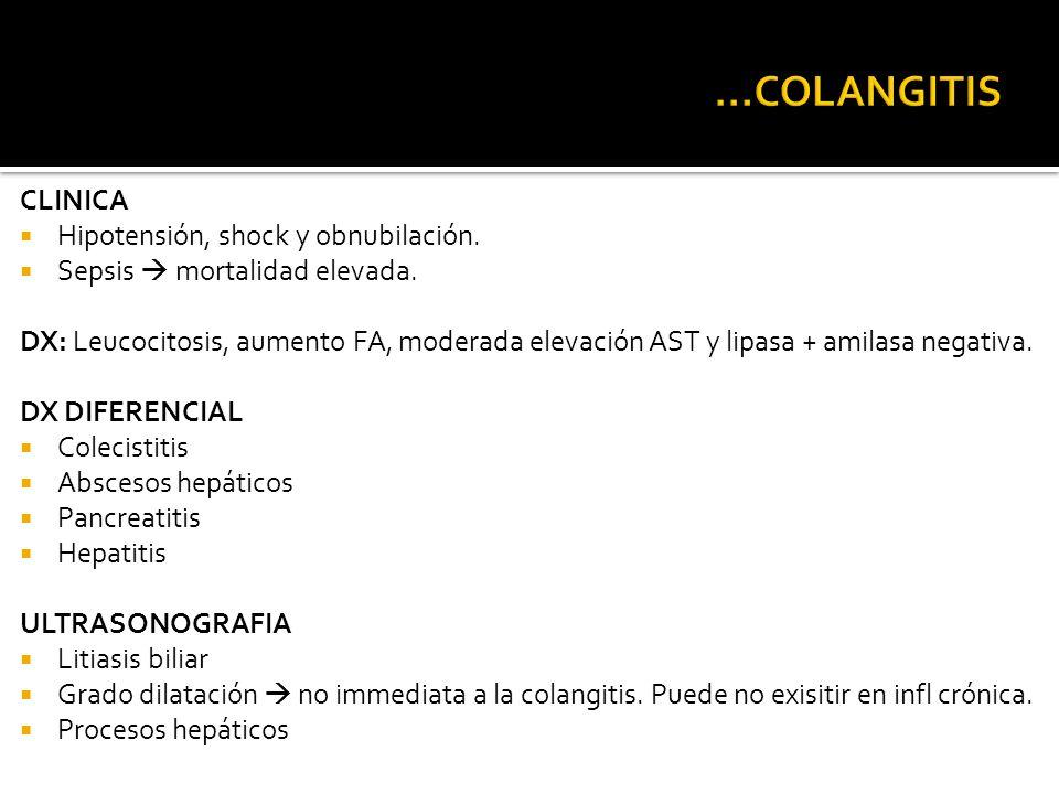 ...COLANGITIS CLINICA Hipotensión, shock y obnubilación.