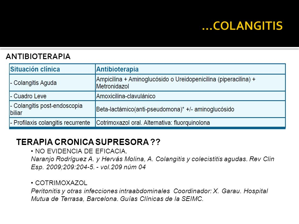 ...COLANGITIS ANTIBIOTERAPIA TERAPIA CRONICA SUPRESORA