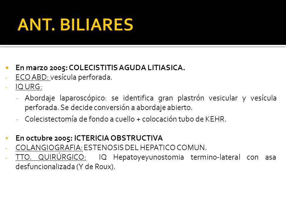 ANT. BILIARES En marzo 2005: COLECISTITIS AGUDA LITIASICA.