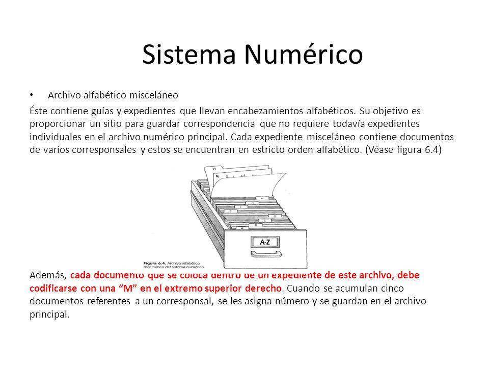 Sistema Numérico Archivo alfabético misceláneo