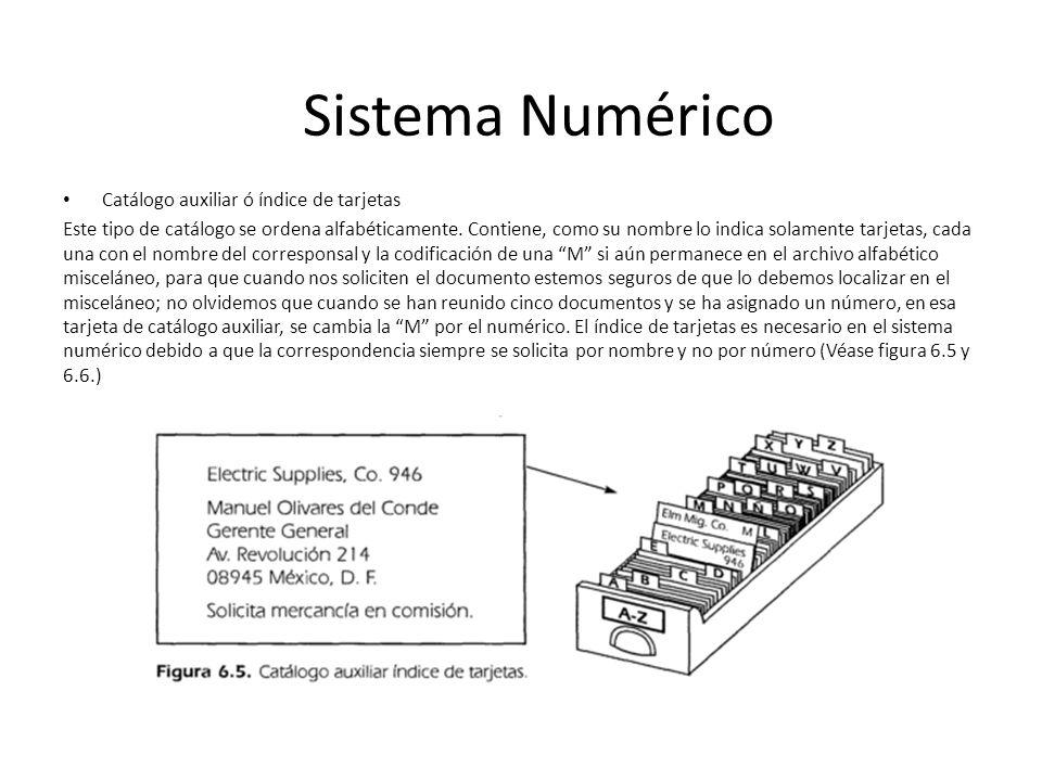 Sistema Numérico Catálogo auxiliar ó índice de tarjetas
