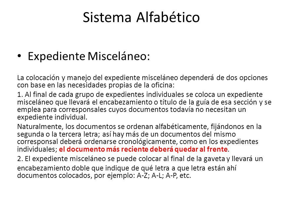 Sistema Alfabético Expediente Misceláneo: