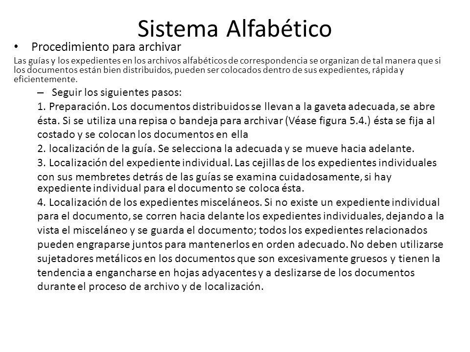Sistema Alfabético Procedimiento para archivar