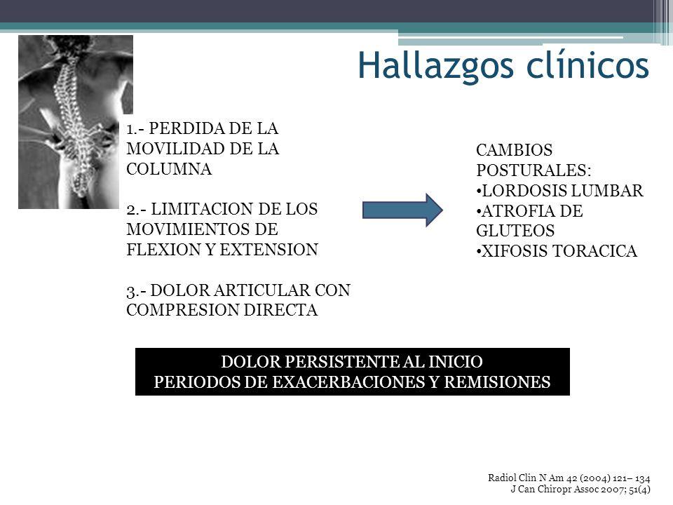 Hallazgos clínicos 1.- PERDIDA DE LA MOVILIDAD DE LA COLUMNA