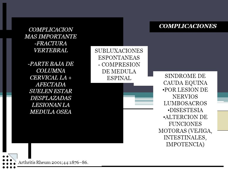 COMPLICACION MAS IMPORTANTE -FRACTURA VERTEBRAL