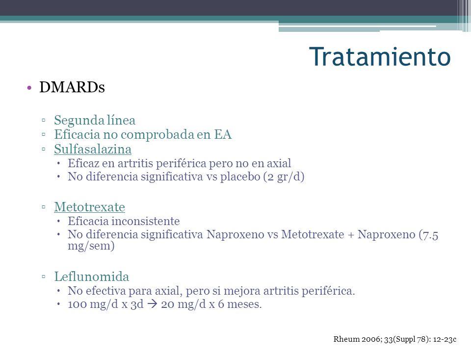 Tratamiento DMARDs Segunda línea Eficacia no comprobada en EA