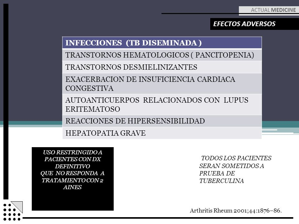 INFECCIONES (TB DISEMINADA ) TRANSTORNOS HEMATOLOGICOS ( PANCITOPENIA)