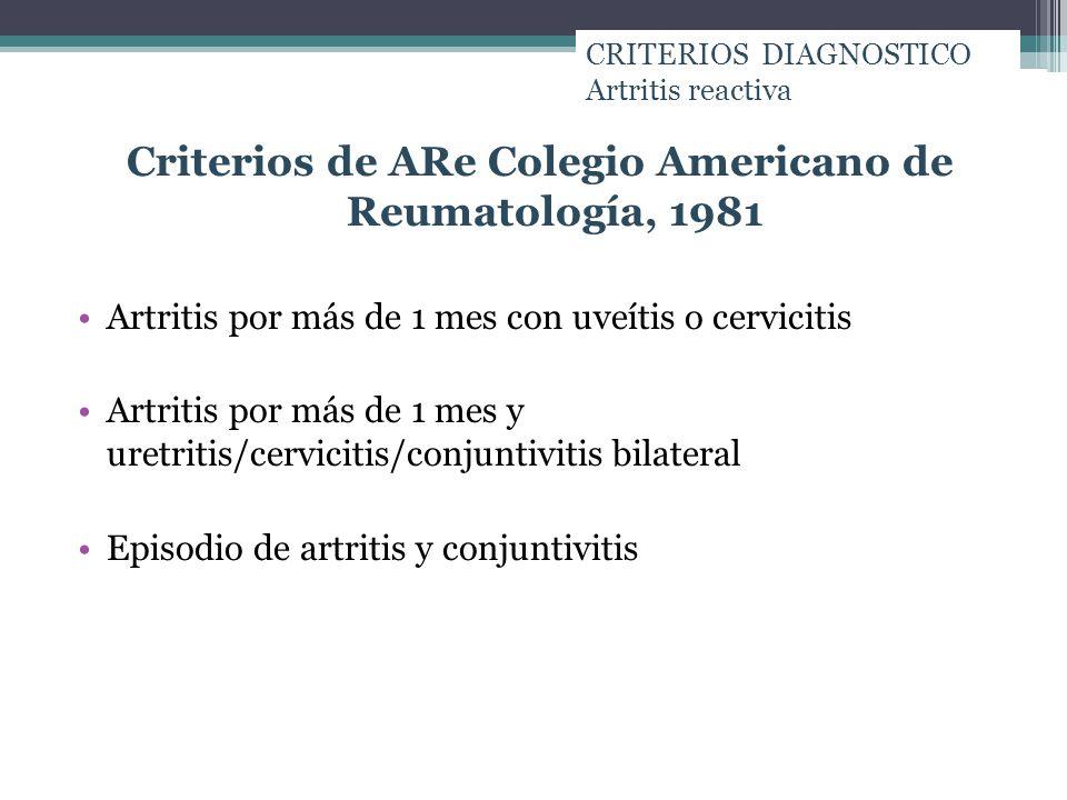 Criterios de ARe Colegio Americano de Reumatología, 1981