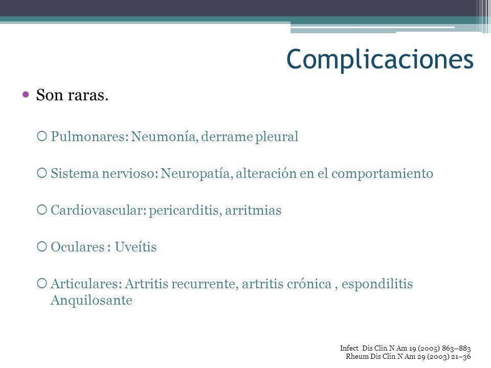 Complicaciones Son raras. Pulmonares: Neumonía, derrame pleural