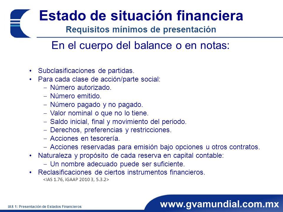 Estado de situación financiera Requisitos mínimos de presentación