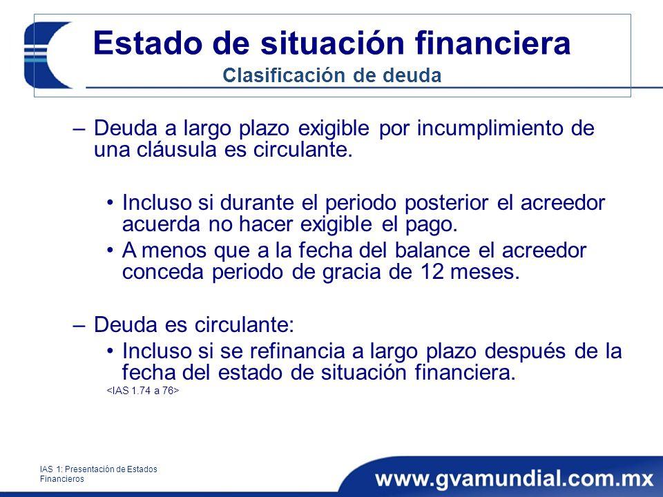 Estado de situación financiera Clasificación de deuda