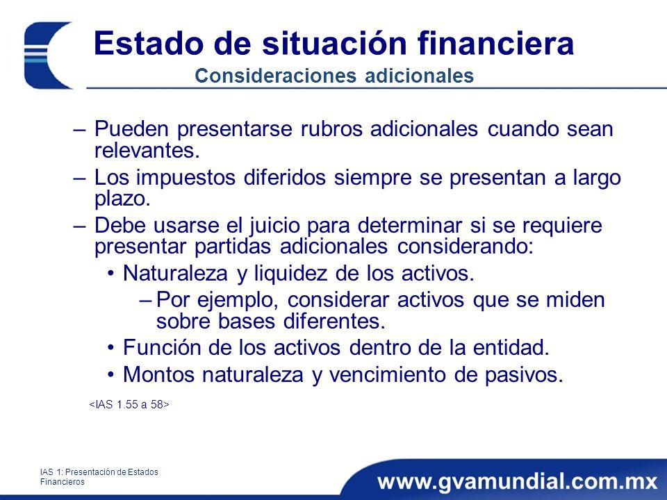 Estado de situación financiera Consideraciones adicionales