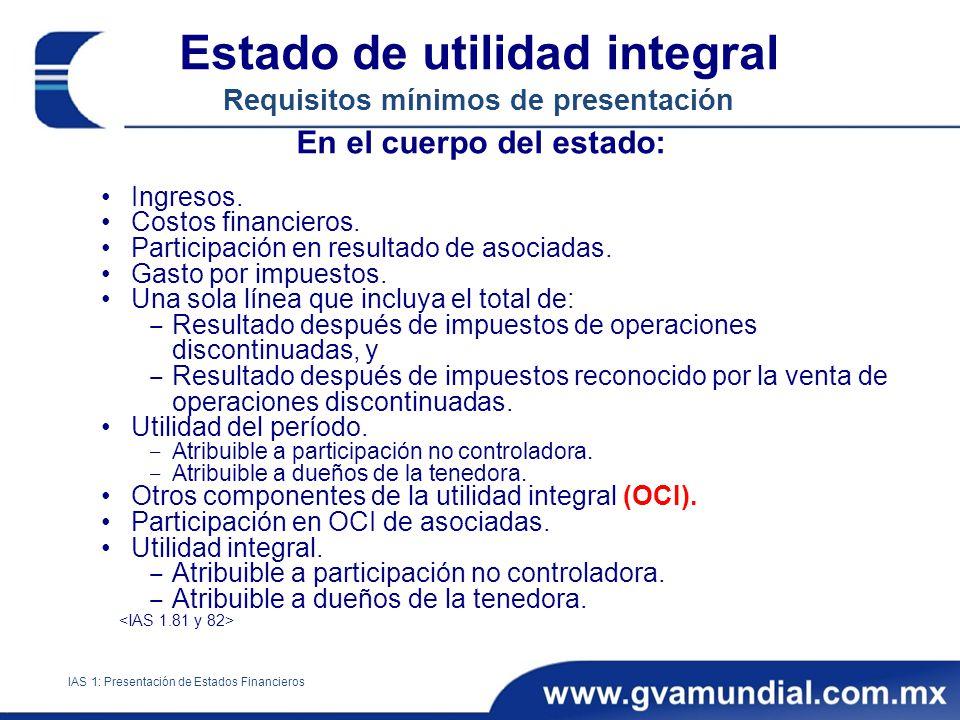 Estado de utilidad integral Requisitos mínimos de presentación