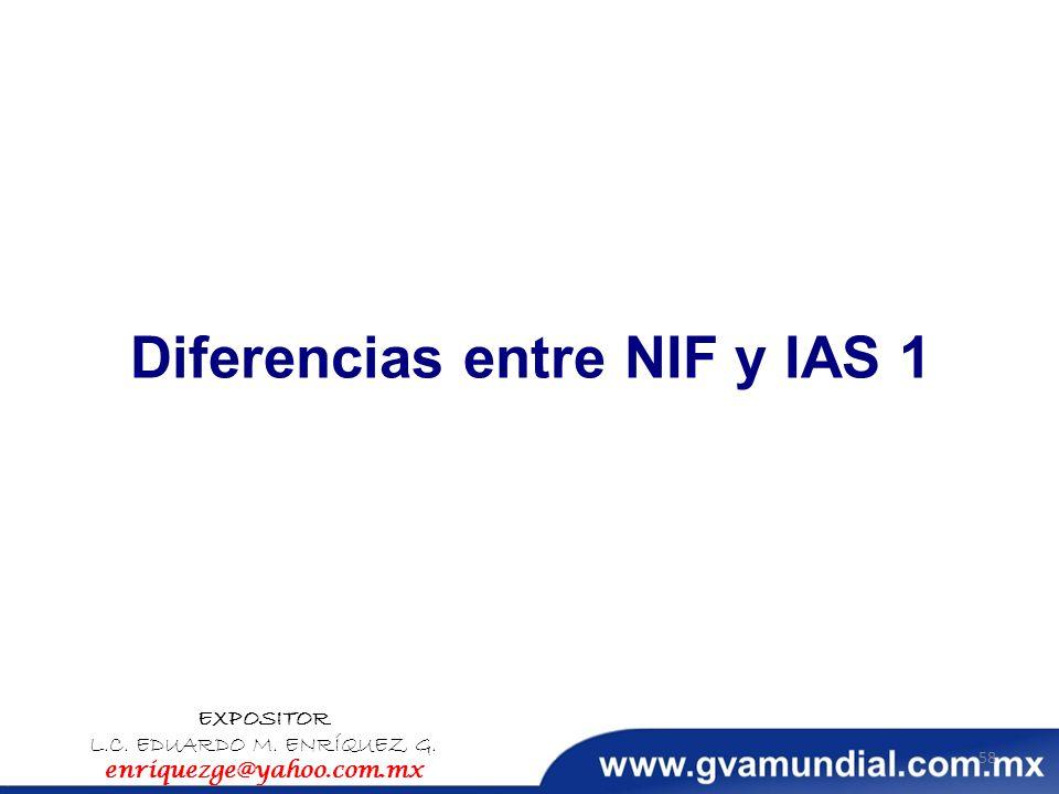 Diferencias entre NIF y IAS 1