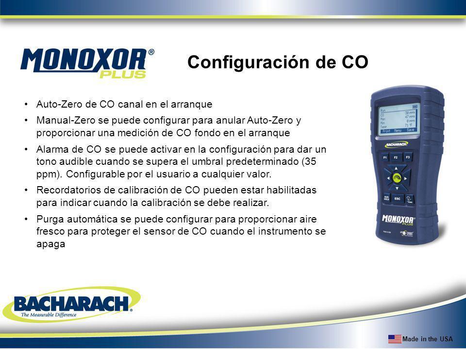 Configuración de CO Auto-Zero de CO canal en el arranque