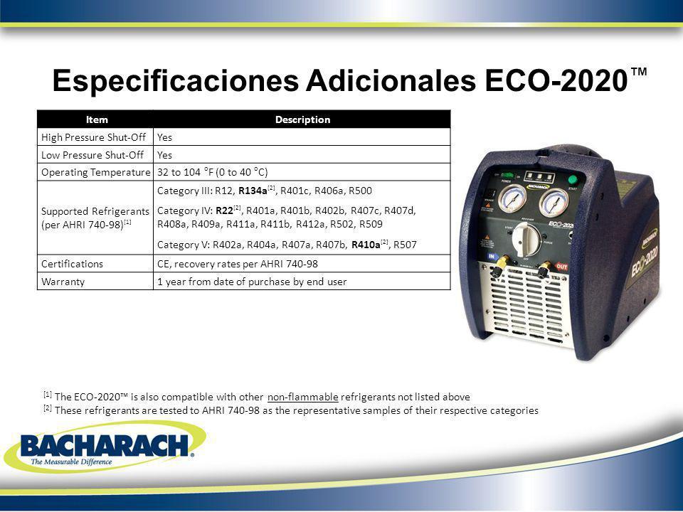 Especificaciones Adicionales ECO-2020™