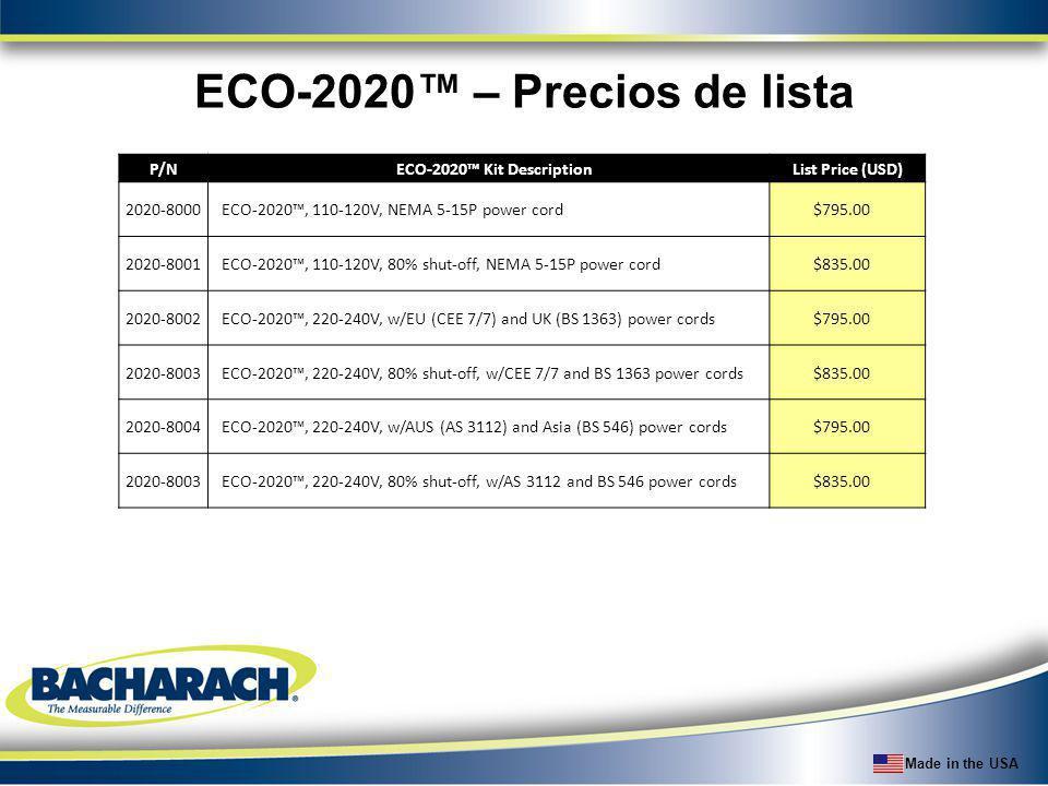 ECO-2020™ – Precios de lista