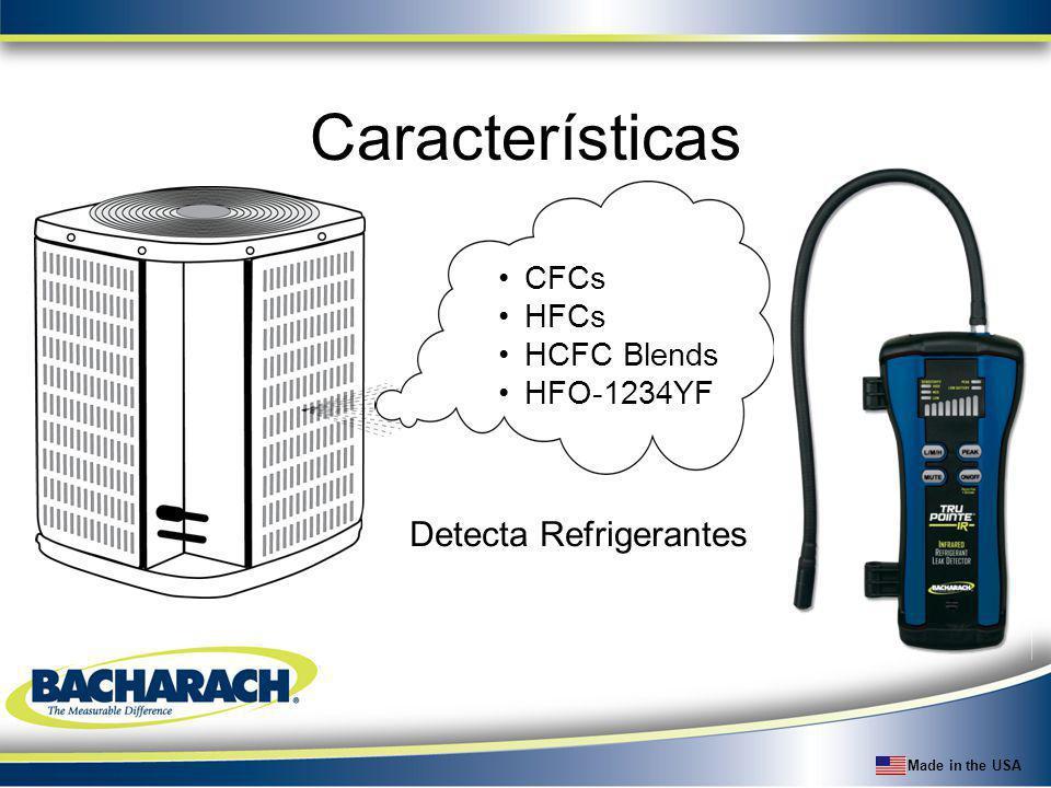 Características CFCs HFCs HCFC Blends HFO-1234YF Detecta Refrigerantes