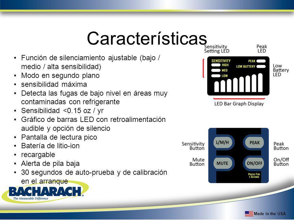 Características Función de silenciamiento ajustable (bajo / medio / alta sensibilidad) Modo en segundo plano.