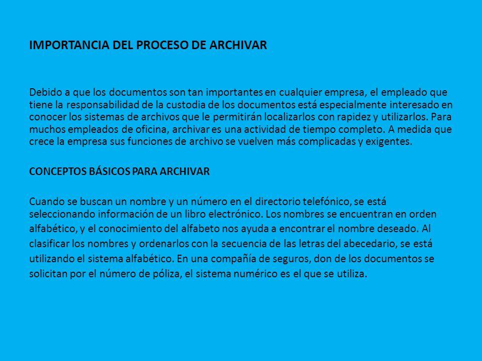 IMPORTANCIA DEL PROCESO DE ARCHIVAR