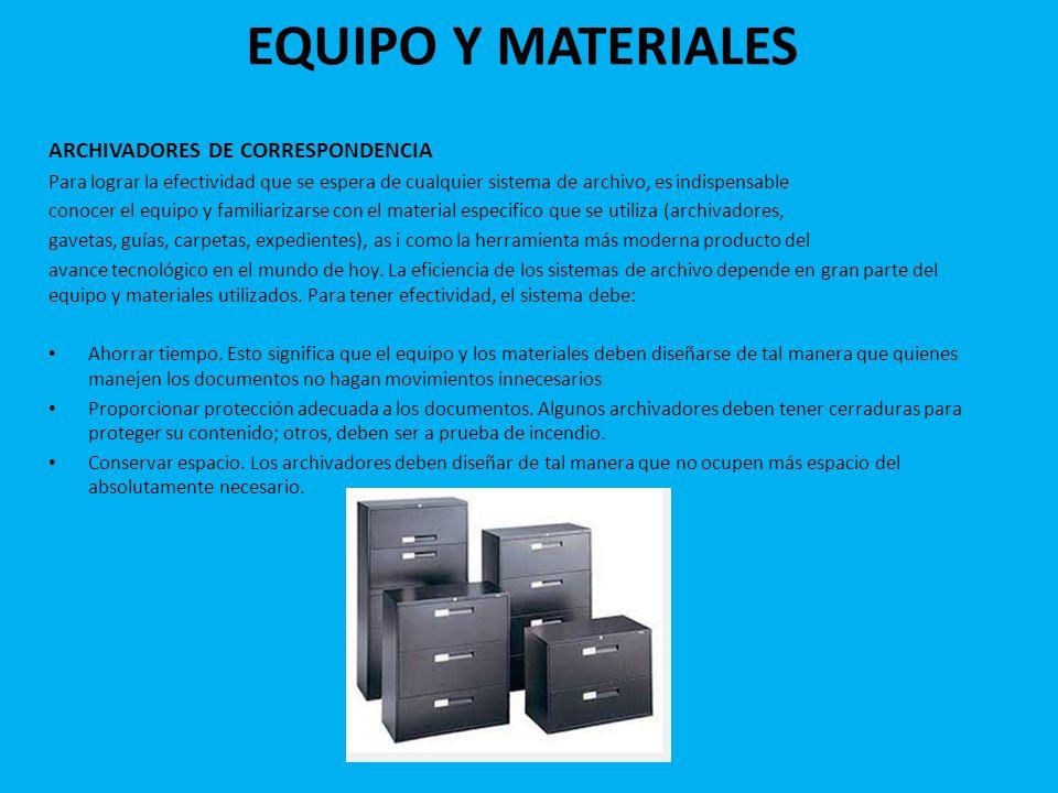 EQUIPO Y MATERIALES ARCHIVADORES DE CORRESPONDENCIA