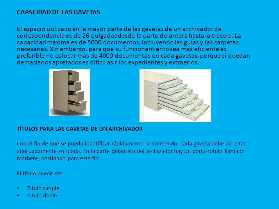 CAPACIDAD DE LAS GAVETAS