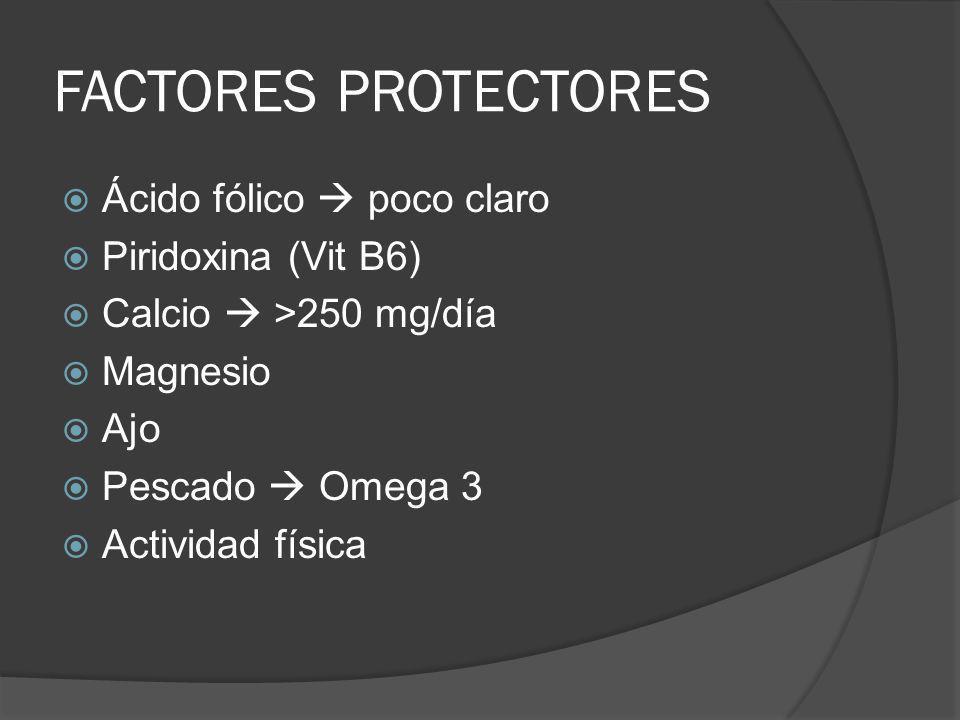 FACTORES PROTECTORES Ácido fólico  poco claro Piridoxina (Vit B6)