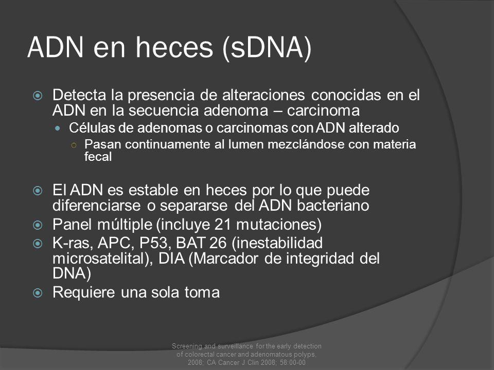 ADN en heces (sDNA) Detecta la presencia de alteraciones conocidas en el ADN en la secuencia adenoma – carcinoma.